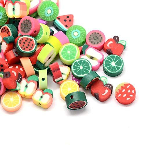 Craftdady 50pcs Perline in argilla polimerica con lettere fatte a mano a tema frutta perline distanziali allentate uva limone kiwi perline heishi per creazione di gioielli con bracciale, foro: 1,5 mm