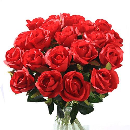 Veryhome 10 Stücke Künstliche Rosen Silk Blumen Gefälschte Flowers Braut Hochzeit Bouquet Für Hausgarten Geburtstag Party Home Wedding Dekor (Rot - Rosenknospe)