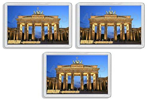 AWS Set 3 Magneti in PVC Rigido Berlino Porta di Brandeburgo Berlin Souvenir Germania calamita...