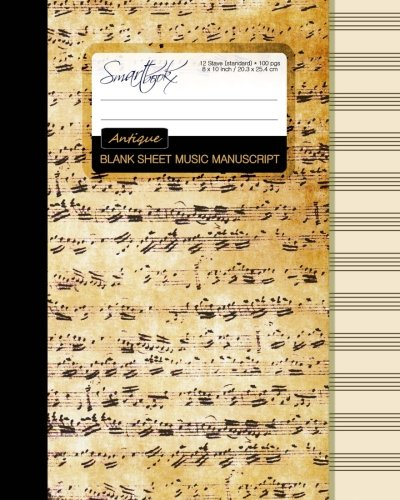 Blank Sheet Music: Music Manuscript Paper / Staff Paper / Musicians Notebook [ Book Bound (Perfect Binding) * 12 Stave * 100 pages * Large * Antique ] (Composition Books - Music Manuscript Paper)