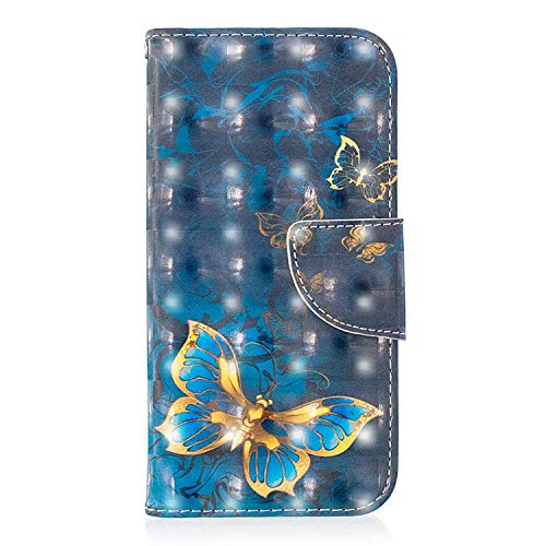 Xiaomi Redmi 6 Pro Case, Bear Village 3D Creative Printed PU Leather Magnetic Flip Folio Wallet Cover with ID and Credit Card Pockets for Xiaomi Redmi 6 Pro (#8 Butterfly)