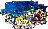 DesFoli Meer Fische Unterwasserwelt 3D Look Wandtattoo 70 x 115 cm Wanddurchbruch Wandbild Sticker Aufkleber C109