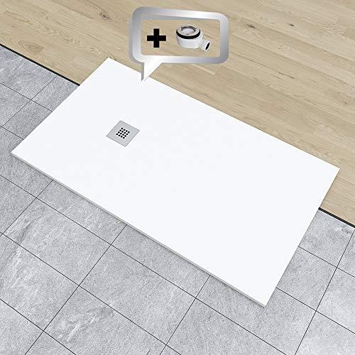 PLATO DE DUCHA DE RESINA PIZARRA CARGA MINERALES GEL COAT 70x120 cm Blanco RAL 9003