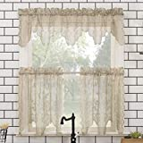 No. 918 Alison Floral Lace Sheer Rod Pocket Kitchen Curtain Valance and Tiers Set, 58' x 24' 3-Piece, Stone