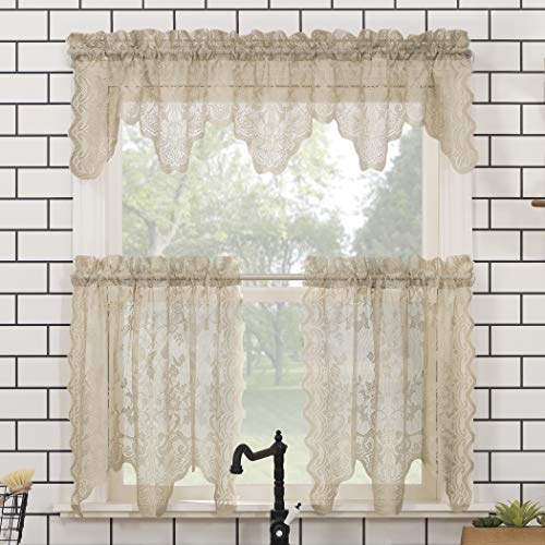 """No. 918 Alison Floral Lace Sheer Rod Pocket Kitchen Curtain Valance and Tiers Set, 58"""" x 24"""" 3-Piece, Stone"""