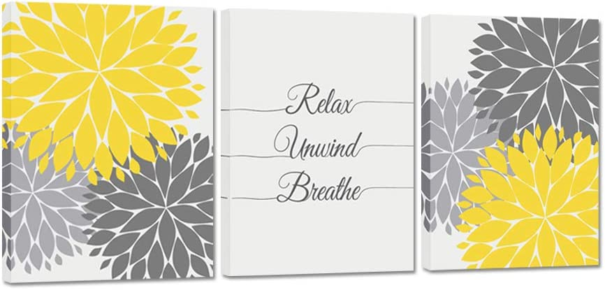 iHAPPYWALL 3 Pieces Bath Flowers Yellow Grey Art Clearance SALE Seasonal Wrap Introduction Limited time Relax and Wall