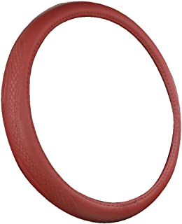 XiXiHao 15 inch Microfiber Leather Steering Wheel Cover for Men (red)