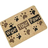 23.6 X 15.7 inches/60 X 40 cm Home Decor Entrance Mat Wipe Your Paws Doormat Dog Footprints Paw Prints Mats for Living Room Bedroom Nursery Kids Room Indoor Outdoor Rug