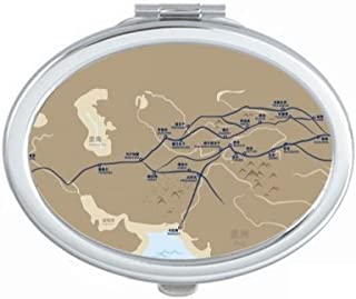 Old Age Journey to the Silk Road Map Mirror Portable Fold Hand Makeup Double Side Glasses