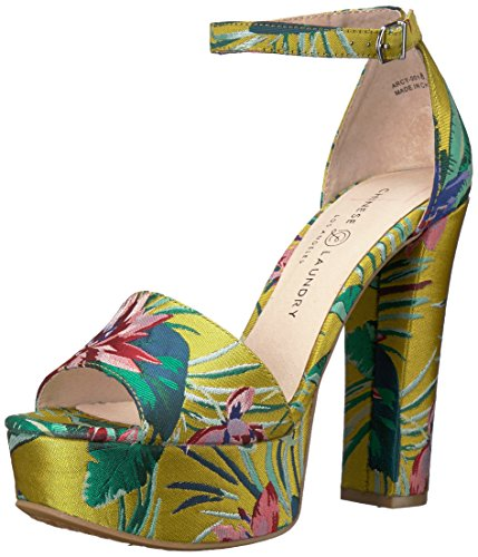 Chinese Laundry Women's Avenue 2 Heeled Sandal, Yellow Lotus Print, 6 M US