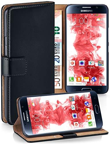 moex Klapphülle kompatibel mit Samsung Galaxy S6 Hülle klappbar, Handyhülle mit Kartenfach, 360 Grad Flip Case, Vegan Leder Handytasche, Schwarz
