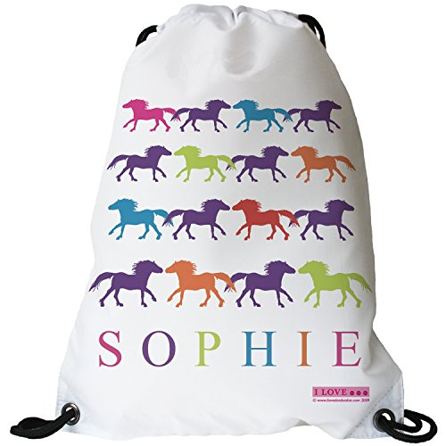 Little Folk I LOVE. PONIES Personalised Swimming Bag, Horse Riding Bag, Pony Grooming Kit Bag, School Bag for Girls & Boys - Ponies in Multi Colour made with any name