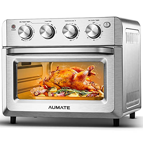 AUMATE Air Fryer Toaster Oven, 7-in-1 Countertop Convection Toaster, 19 Quart Countertop Oven with Timer, 1550W, 4 Accessories Stainless Steel (Silver)
