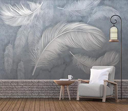 Fototapete 3D Effekt Tapeten Handgemalte Weiße Feder Wandtapete Wandbild Wand Dekoration