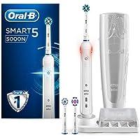 Oral-B Smart 5 5000N CrossAction - Cepillo Eléctrico 1 Blanco Conectado, 5 Modos Blanqueado, Sensible, Cuidado Encías, 3 Cabezales Recambio, Funda de Viaje de Plástico