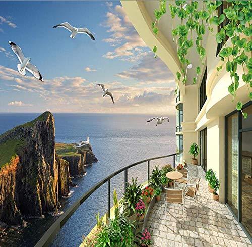 3D HD Zimmer mit Meerblick Stereo-Landschaft TV Hintergrundwand Wohnzimmer Wandfläche Erweiterung Tapete Home Decorations-300 * 210cm