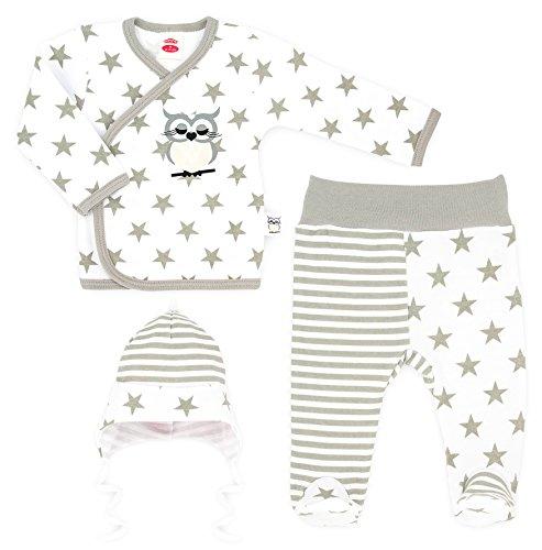 MAKOMA Baby Mädchen und Jungen Unisex 3 tlg. Set aus Wickelshirt Babyhose und Mütze - 134 Eule - (56)