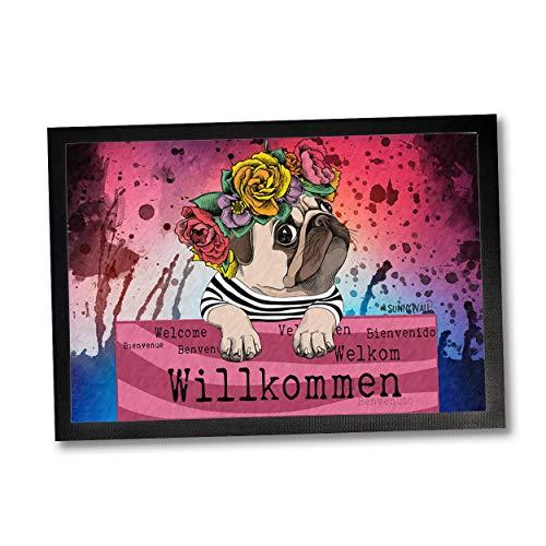 Sunnywall Fußmatte Mops Hund Willkommen Blumenkranz 50 x 35 | 60 x 40 | 75 x 50 cm