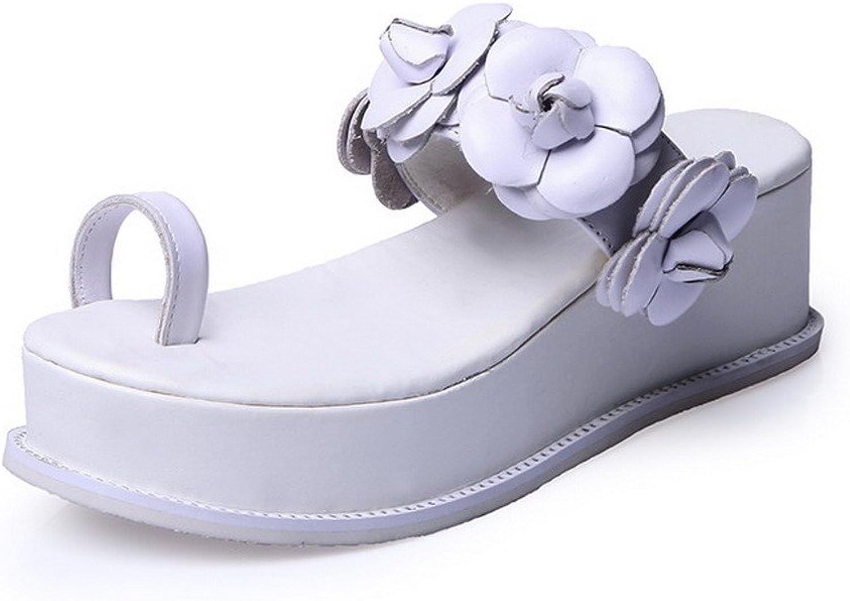 Allhqmode Woherrar Open Split Toe Toe Toe Cow läder Kitten klackar Solid Sandals med Wedge and Flowers  njuter av din shopping