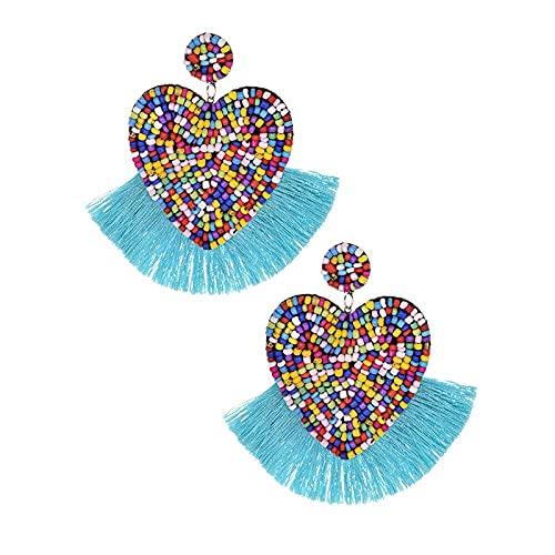 Pendientes de gota de borla de cuentas bohemias para mujeres, regalos de fiesta de boda para niñas, pendientes coloridos-1