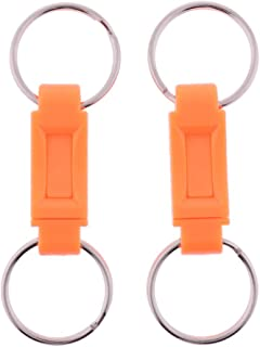Prettyia 2PCS Detachable Keychains Quick Release Pull Apart Key Rings Lock Holder Dual Split Rings for Handy Outdoor Travel Accessories