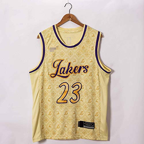 Jerseys De Baloncesto para Hombre, NBA Los Angeles Lakers # 23 Lebron James - Uniformes De Chaleco Transpirable Suelto Uniformes Classic Comfort Camiseta Sin Mangas Tops,Beige,M(170~175CM)