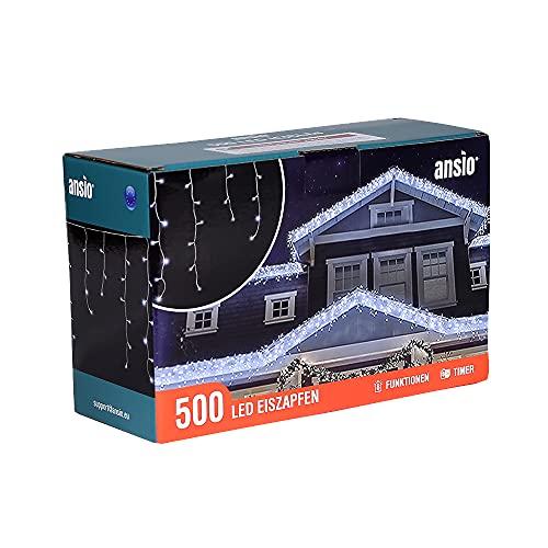 ANSIO 500 LED Bianco Freddo Tenda luminosa, Luci natalizie per interni e esterni, 8 modalità luce/timer, Memoria, trasformatore incluso, 17,4m lunghezza - Cavo Bianco