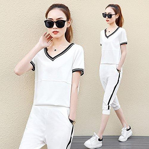 QNQA ce matin à hommeches courtes, les femmes mode sport, été grands jardins, les vêtements, sept points de pantalons, de deux ensembles,xl,pantalon blanc, blanc
