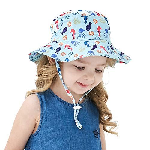 Kinder Sonnenhut Kids Unisex Fischerhut Baby Strandhut Breite Krempe Sommer UV Schutz 50 Sonnenschutz Babymütze Kind Kleinkind Hut Sonnenschutz verstellbarem Kinnriemen (Hellblau , Unter 8 Jahren )