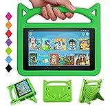 DJ&RPPQ - Custodia per tablet 7 2019, leggera, antiurto, con manico convertibile, per tablet Fire 7', compatibile con 7° generazione 2017/9a generazione 2019, colore: Verde