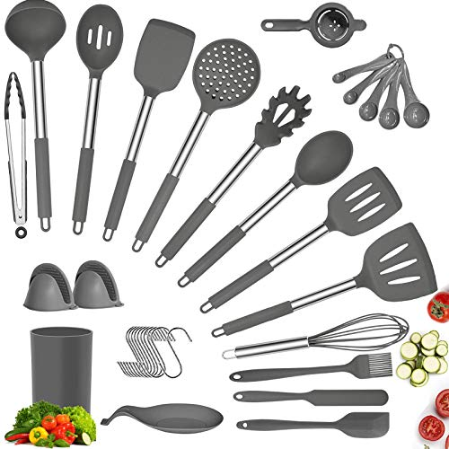 Silicone Cooking Utensil Set, 34 Pcs Kitchen Utensils Set with Holder, 608°F Heat Resistant Non-stick BPA Free Nontoxic Kitchen Cookware with Stainless Steel Handle, Kitchen Tools Set