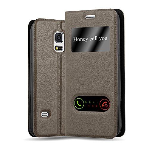 Cadorabo Custodia Libro per Samsung Galaxy S5 MINI / S5 MINI DUOS in BRUNO PIETRA - con Funzione Stand e Chiusura Magnetica - Portafoglio Cover Case Wallet Book Etui Protezione