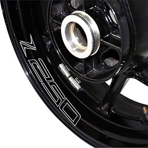 para Kawasaki Z250 Z 250 Etiqueta de Rueda de la Rueda de la Motocicleta Reflectante Rim Stripe Cinta Motorbike Calcomanía Estilismo Stick (Color : Reflective Silver)