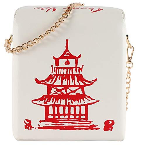 Cobeky Bolso chino para llevar en piel sintética para mujer, bolso de mano, bolso de bandolera, cadena de hombro, bolso para niña, color rosa, color Blanco, talla Talla Unica