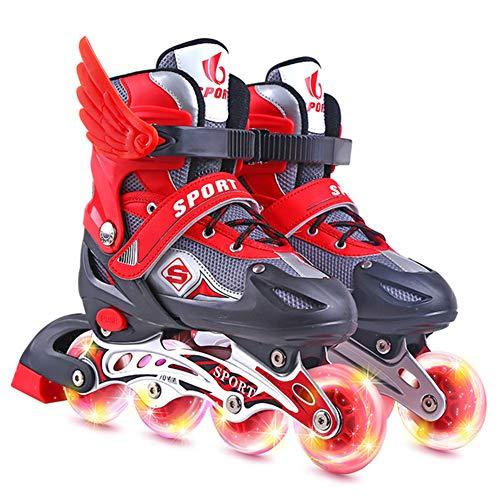 XIUWOUG LED inline skates for children adjustable inline skates sizes 2641 ABEC 7 bearings universal fitness roller skates for boys and girls youngsters beginnersRedL size full set 3741