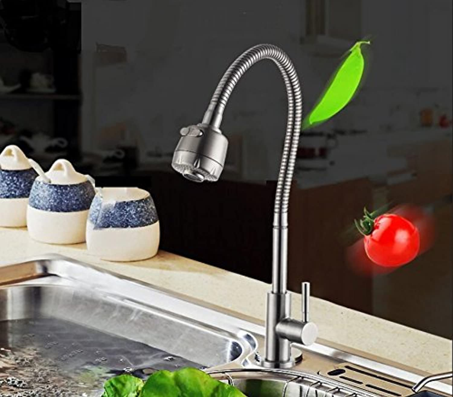 WINZSC Stainless steel single cold redary shower head double outlet faucet kitchen dish basin balcony mop pool faucet lo3 (color   A)