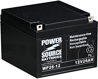 WP26-12 Sealed AGM 12v 26ah Battery replaces M12260 SLD M, ES26-12, GP12240, GP12260, GPL12260, EVX12260, PE12V24A, TEV12260, TEV12240, PE12V26A, 6-GFM-24, PS-12260 NB, UB12260, WKA12-26NB, BSL1146, DCM0026, SLA1146, SLA1145, BP24-12, BP26-12, 12V26AH, SLA24-12