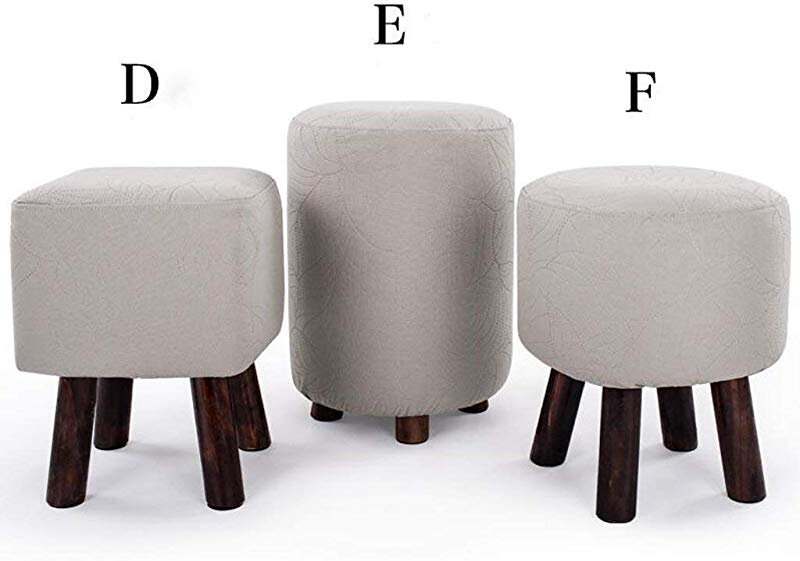 Carl Artbay Wooden Footstool Light Grey Small Stool Solid Wood Stool Change The Shoe Stool Round Stool Sofa Small Bench Home Size F