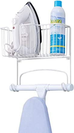 mDesign Metal Wall Mount Ironing Board Holder with Large Storage Basket - Holds Iron, Board, Spray Bottles, Starch, Fabric Refresher for Laundry Rooms - White