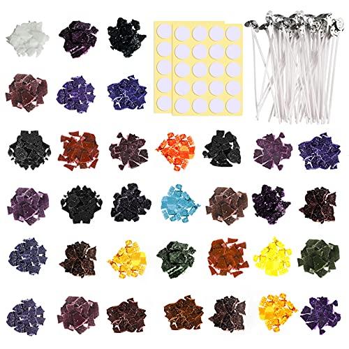 JBEIY 34 Colores Colorante para Velas, Tintes para Velas, 170g Tintes para Fabricación de Velas, Tinte para Velas de Soja, con 50 mechas y 40 pegatinas