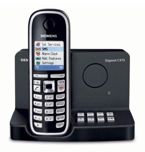 Siemens Gigaset C475 schnurloses DECT Telefon mit Farbdisplay und integriertem digitalen Anrufbeantworter, pianoschwarz