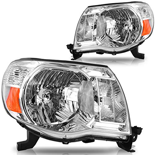 Compatible with 2005-2011 Toyota Tacoma Headlights/Pickup 2-Dr & 4-Dr OEDRO Chrome Housing Amber Reflector & Clear Lens Headlamps/light Left + Right, 2-Yr Warranty
