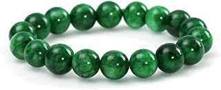 HSUMING Natural Stone Jade Bead Stretch Bracelet for Women Girls Men - Unisex Good Luck Gemstone Jewelry Chakra Bracelet