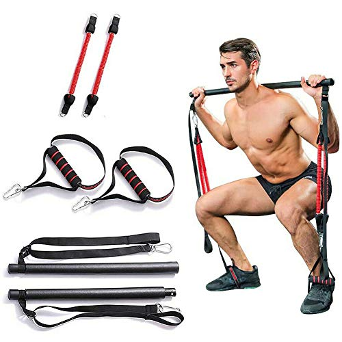 Portable Home Gym Pilates Bar System, Full Body Workout Equipment for Home, Office or Travel, Weightlifting and HIIT Interval Training Kit with 2 Resistance Bands