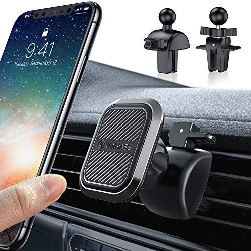 VANMASS Handyhalterung Auto Magnet Lüftung【Nie Ausfallen】 Extra Stark 6 Magnet Handyhalter fürs Auto mit 2 Lüftungsclips Kfz Smartphone Halterung für Alle Handys z.B. iPhone11Pro,Samsung Galaxy S20