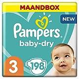 Pampers Baby Dry - Pañales para bebés, Talla 3 (6-10 kg), 198 unidades