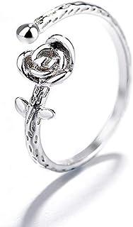 Lozse Anelli regolabili S925 argento anello retrò piccolo principe rosa anello di apertura regolabile