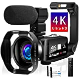 Videokamera 4K Camcorder IR Nachtsicht Camcorder 48.0MP Vlogging Kamera für YouTube 3.0'...
