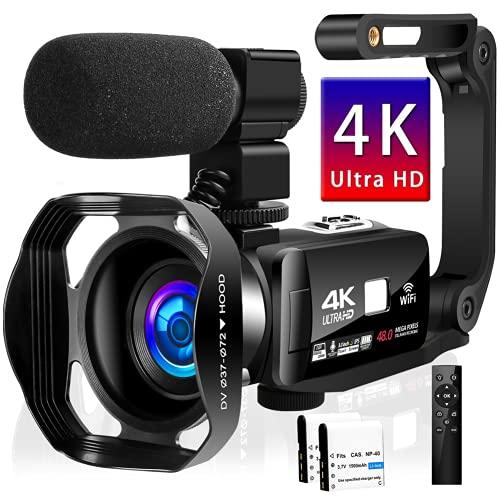 Videokamera 4K Camcorder IR Nachtsicht Camcorder 48.0MP Vlogging Kamera für YouTube 3.0' Touchscreen Camcorder mit Mikrofon und Handstabilisator
