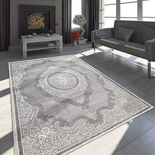 Paco Home Orient Teppich Modern 3D Effekt Meliert Schimmernd Ornamente Bordüre Grau Weiß, Grösse:160x230 cm